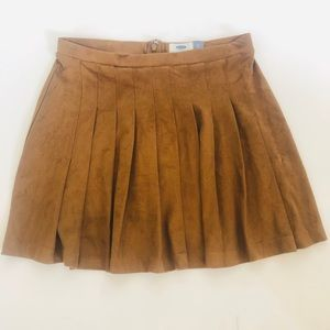 Brown Faux Suede Pleated Skirt Old Navy W Size S